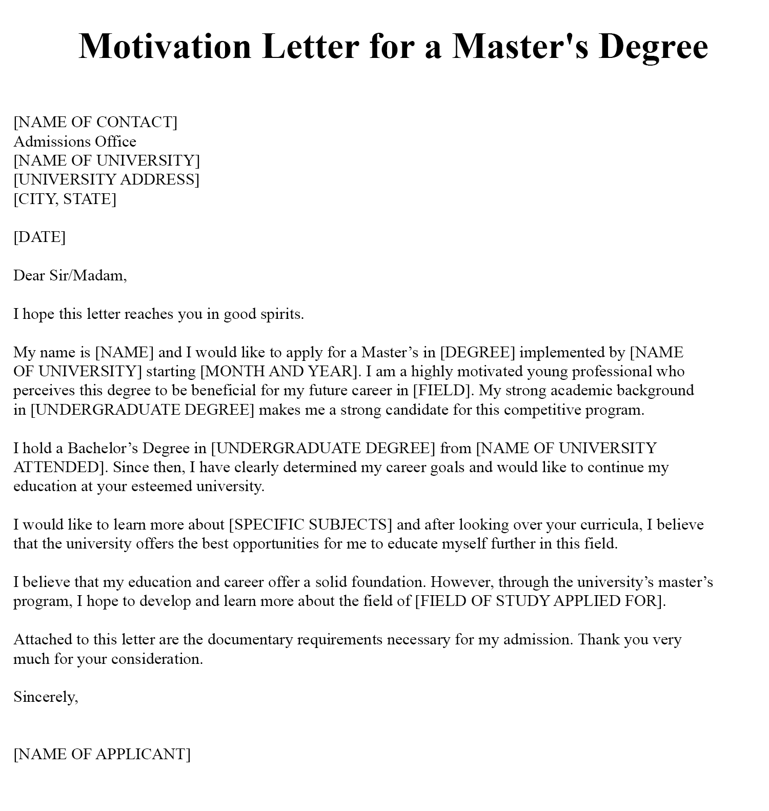 Sample Motivation Letter For Masters Degree PDF